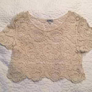 Express Brand cotton crochet lace crop top